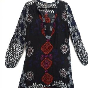 Free People high low long sleeve boho dress